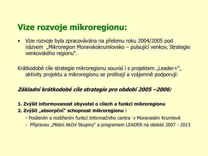 Vize rozvoje mikroregionu: