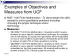 examples of objectives and measures from ucf1