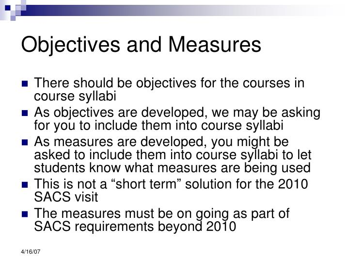 Objectives and Measures