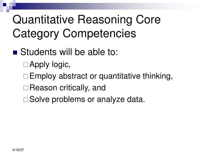 Quantitative Reasoning Core Category Competencies