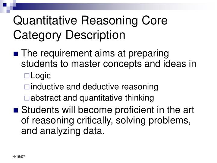Quantitative Reasoning Core Category Description