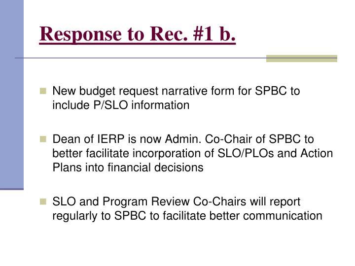 Response to Rec. #1 b.