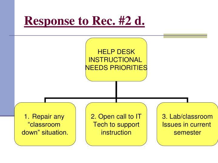 Response to Rec. #2 d.