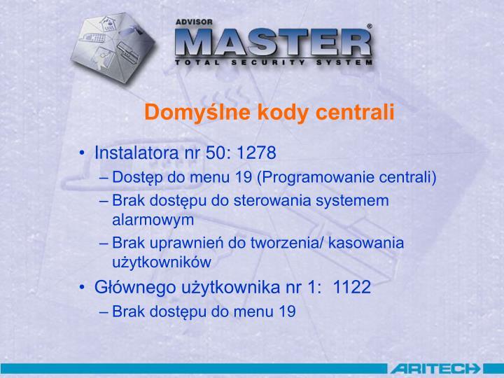 Domyślne kody centrali