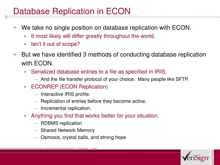 Database Replication in ECON