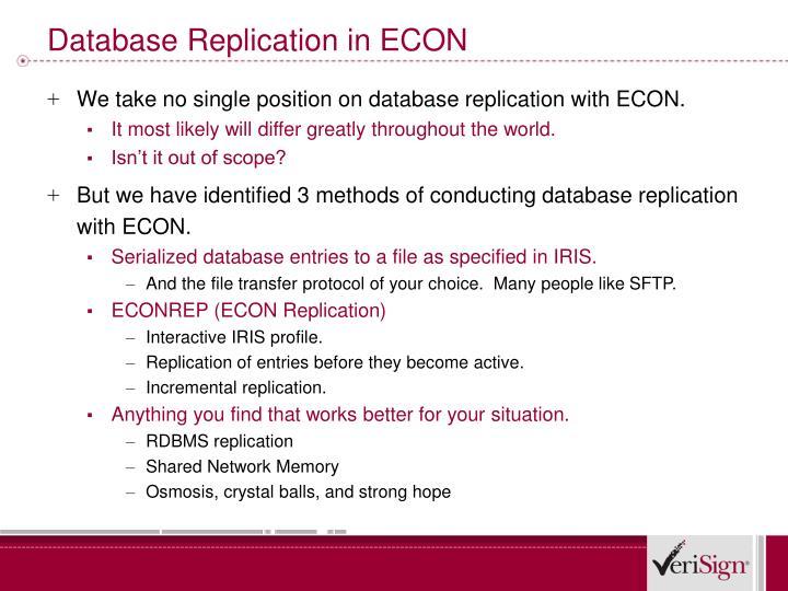 Database Replication in ECON
