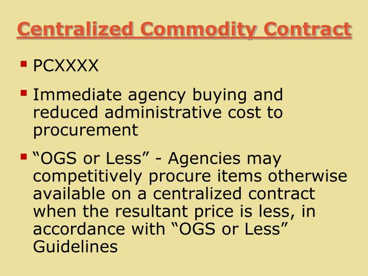 Centralized Commodity Contract