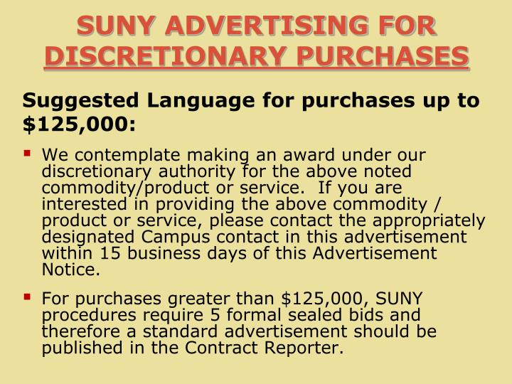 SUNY ADVERTISING FOR