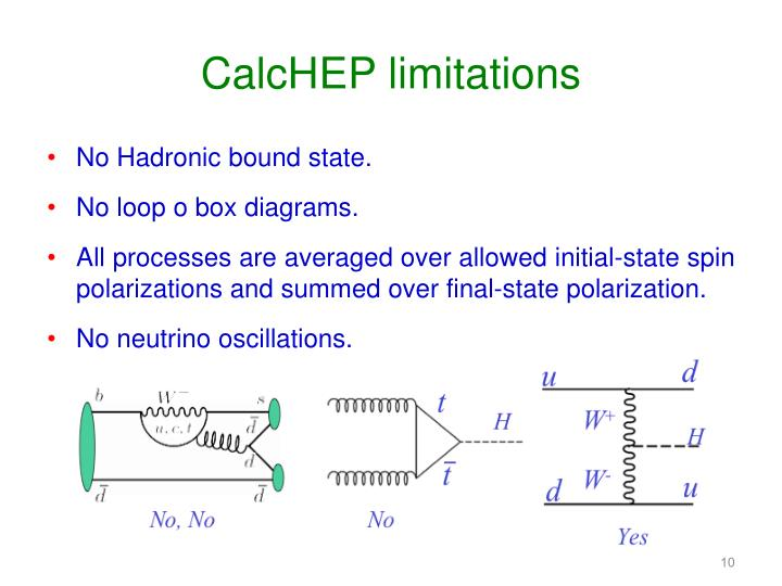 CalcHEP limitations