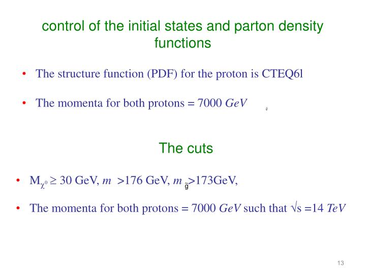 control of the initial states and parton density