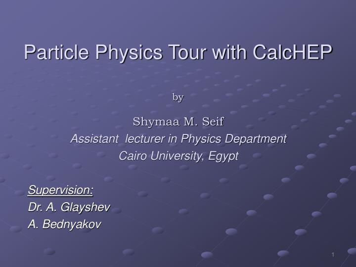 Particle physics tour with calchep