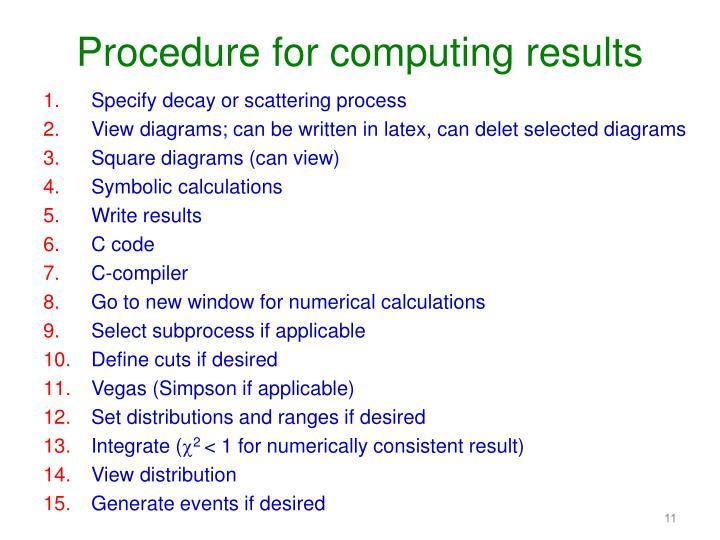 Procedure for computing results