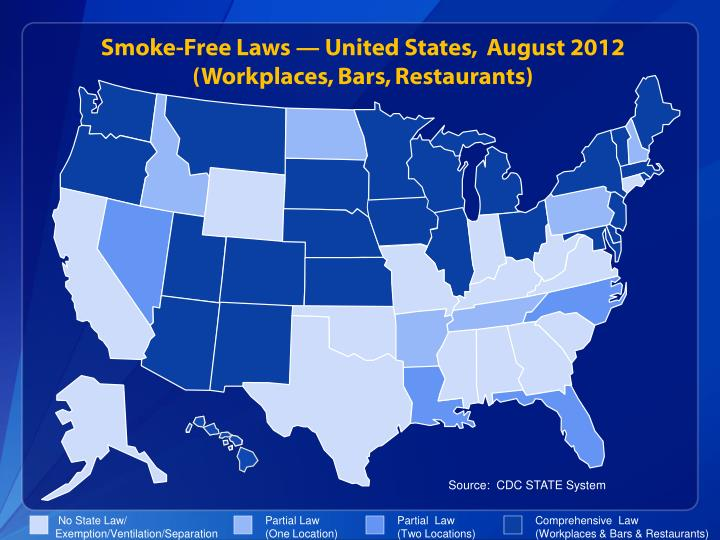 Smoke-Free Laws — United States,  August 2012
