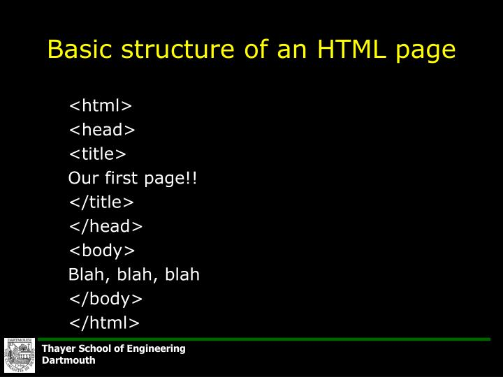 Basic structure of an HTML page