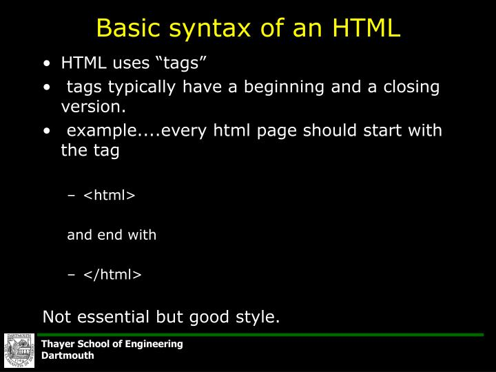 Basic syntax of an html