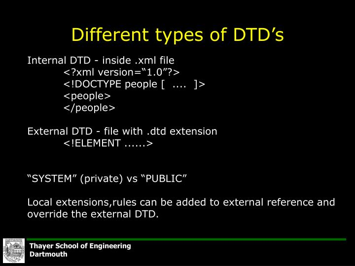 Different types of DTD's