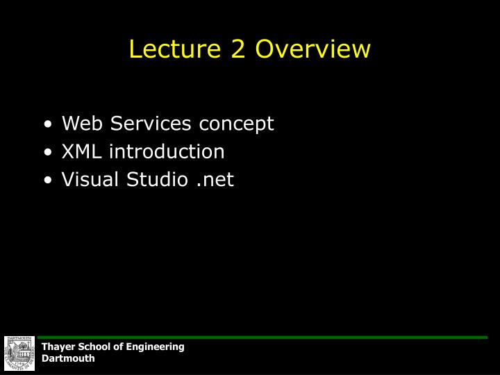 Lecture 2 overview