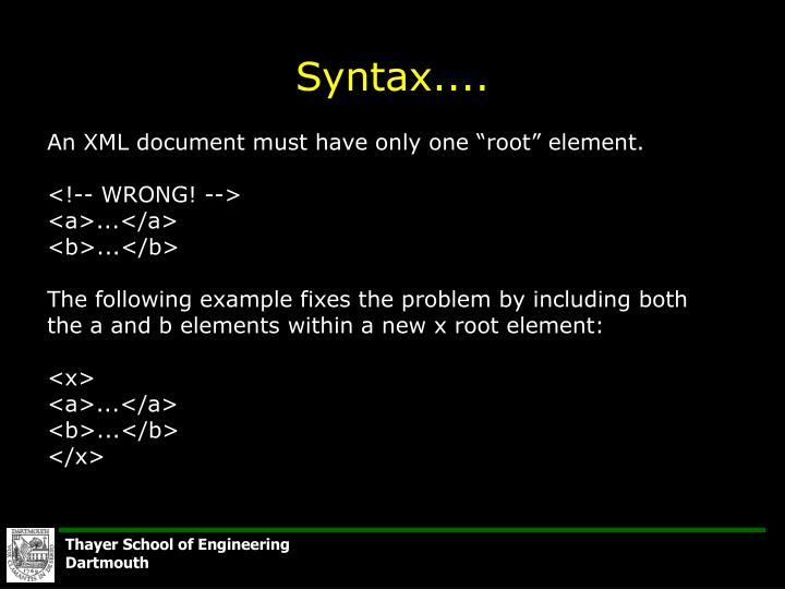 Syntax....