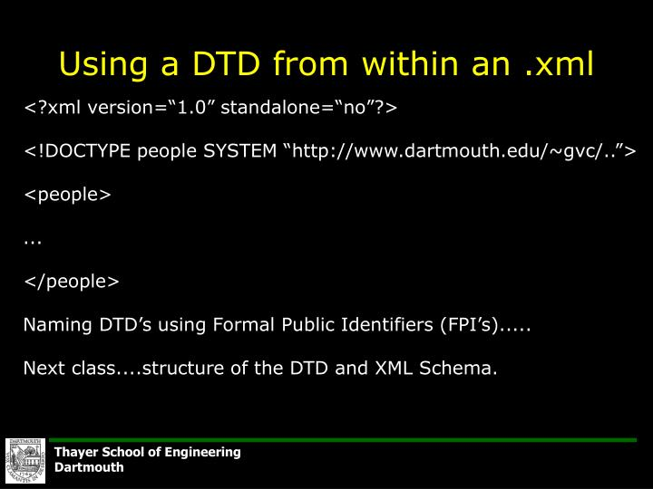 Using a DTD from within an .xml