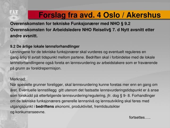 Forslag fra avd. 4 Oslo / Akershus