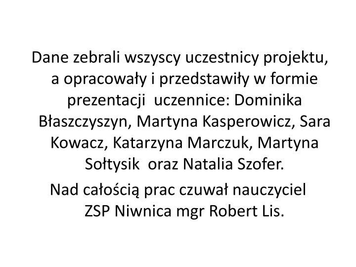 Dane zebrali wszyscy uczestnicy projektu,                        a opracowały i przedstawiły w formie prezentacji  uczennice: Dominika Błaszczyszyn, Martyna Kasperowicz, Sara Kowacz, Katarzyna Marczuk, Martyna Sołtysik  oraz Natalia Szofer.