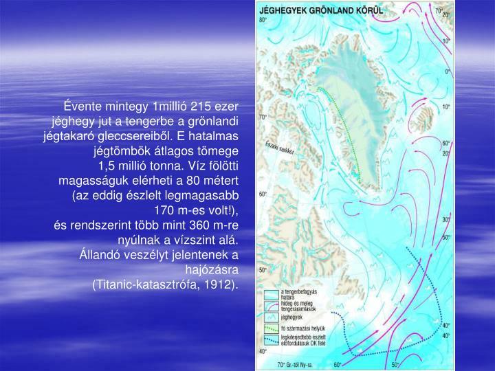 Évente mintegy 1millió 215 ezer jéghegy jut a tengerbe a grönlandi