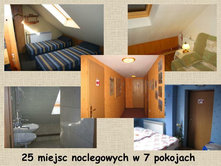25 miejsc noclegowych w 7 pokojach