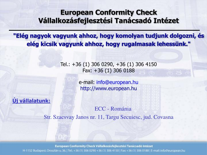 European Conformity Check