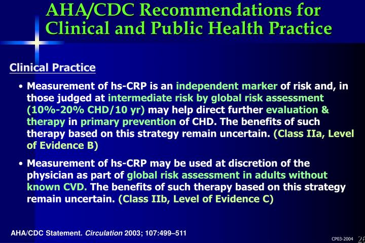 AHA/CDC Recommendations for Clinical and Public Health Practice