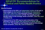 aha cdc recommendations for clinical and public health practice