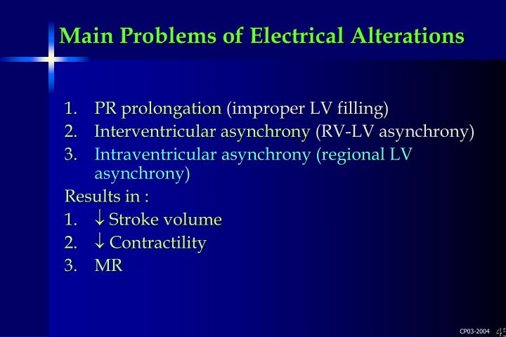 Main Problems of Electrical Alterations