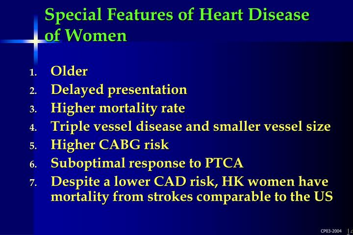 Special Features of Heart Disease of Women