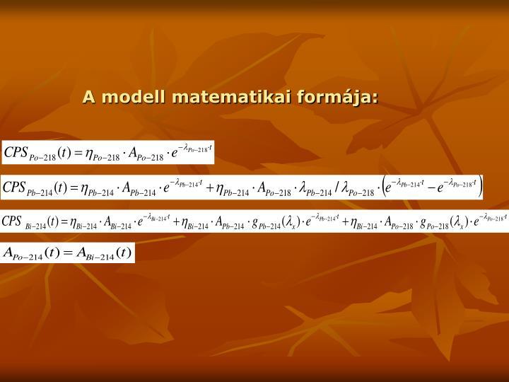 A modell matematikai formája: