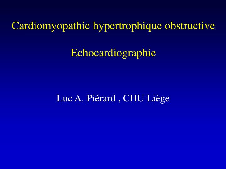 Cardiomyopathie hypertrophique obstructive
