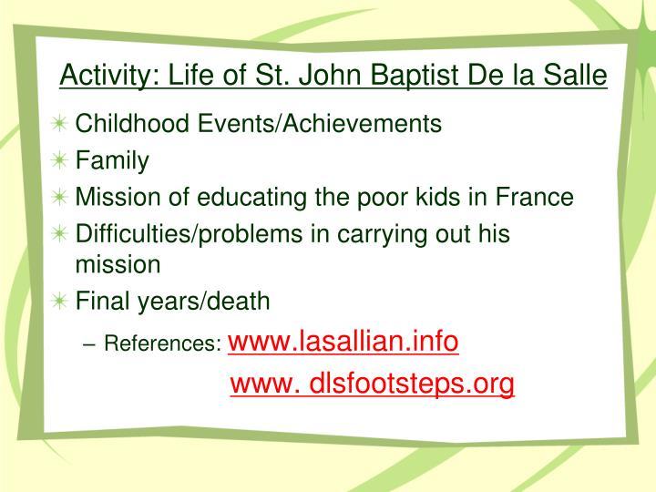 Activity: Life of St. John Baptist De la Salle