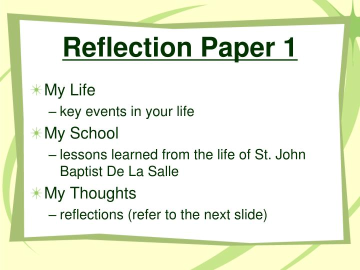 Reflection Paper 1