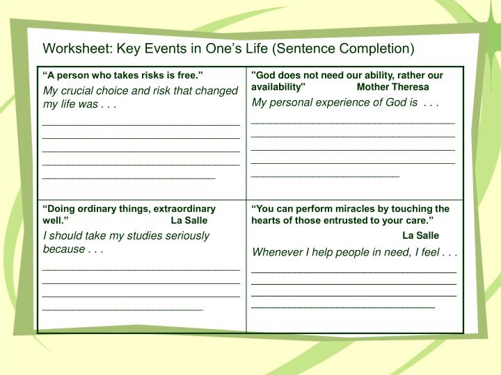 Worksheet: Key Events in One's Life (Sentence Completion)