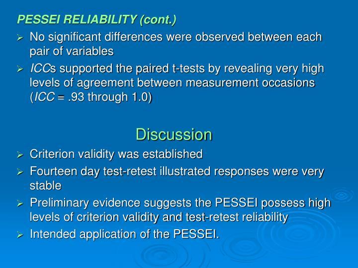 PESSEI RELIABILITY (cont.)