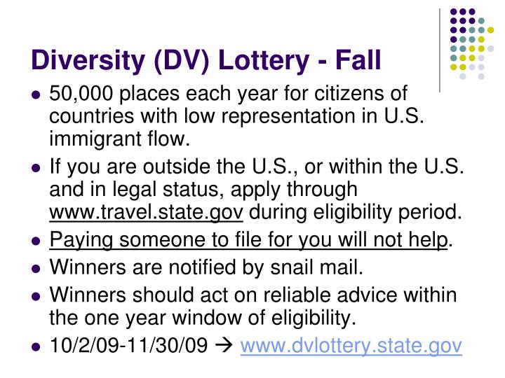 Diversity (DV) Lottery - Fall