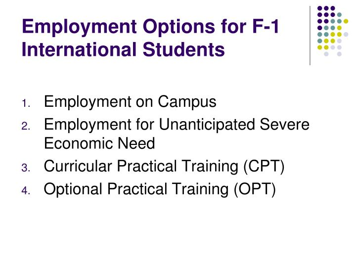 Employment Options for F-1 International Students