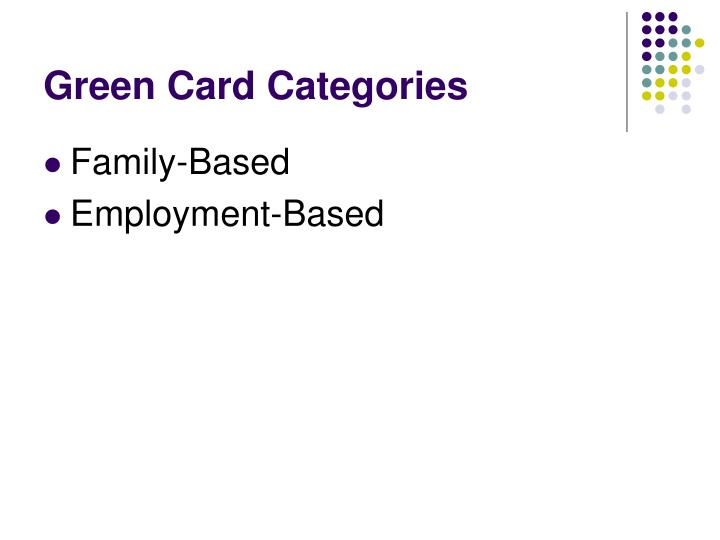 Green Card Categories