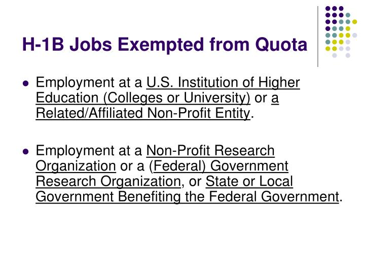 H-1B Jobs Exempted from Quota
