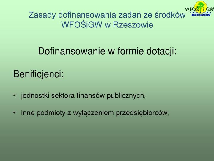 Zasady dofinansowania zadań ze środków WFOŚiGW w Rzeszowie