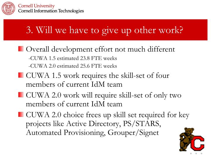 3. Will we have to give up other work?