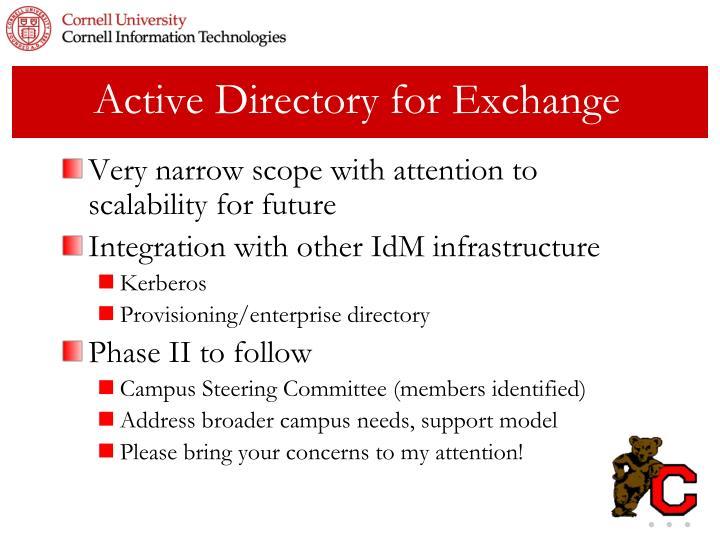 Active Directory for Exchange