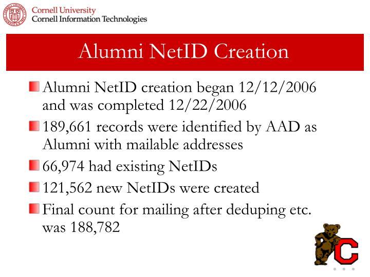 Alumni NetID Creation