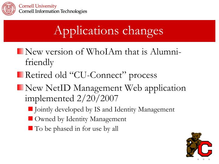Applications changes