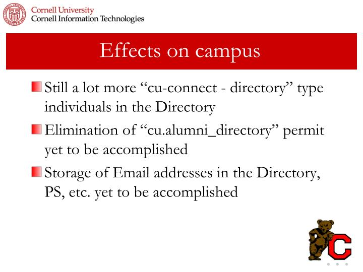 Effects on campus