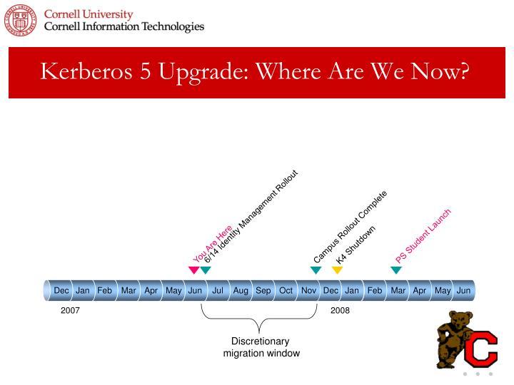 Kerberos 5 Upgrade: Where Are We Now?