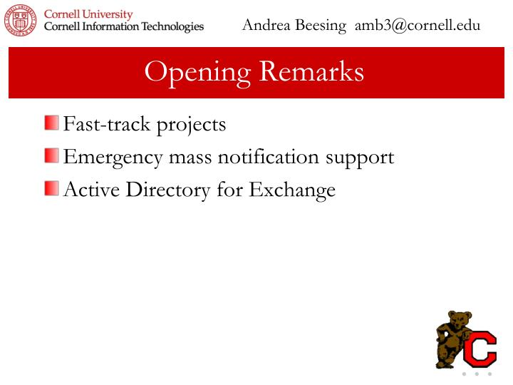 Andrea Beesing  amb3@cornell.edu